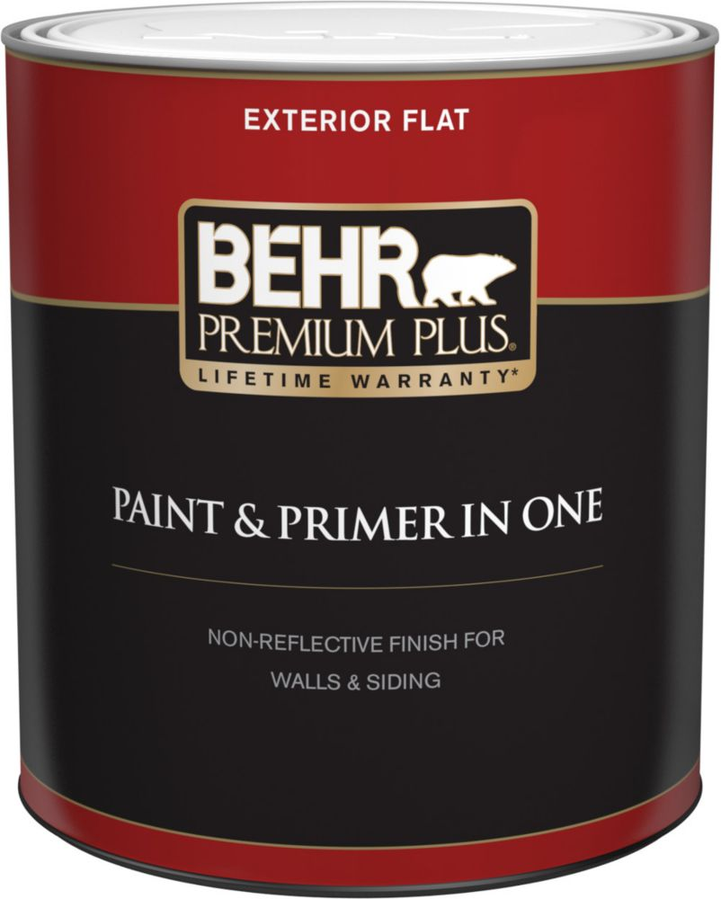 Behr Premium Plus Exterior Paint Primer In One Flat Ultra Pure White 946 Ml The Home