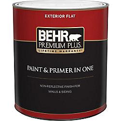 Behr Premium Plus Peinture & apprêt en un - Extérieur mat - Blanc ultra pur, 946 ML