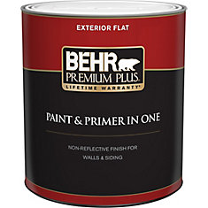 Exterior Paint & Primer in One, Flat - Ultra Pure White, 946 mL