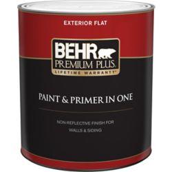 Behr Premium Plus Exterior Paint & Primer in One, Flat - Ultra Pure White, 946 mL