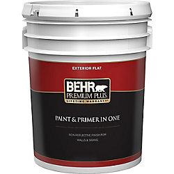 Behr Premium Plus Exterior Paint & Primer in One, Flat - Ultra Pure White, 18.9 L