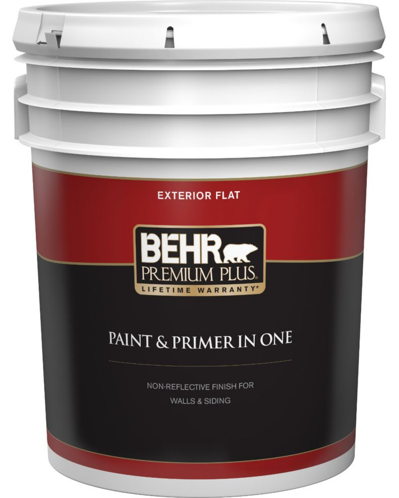 Behr Premium Plus Exterior Paint & Primer in One, Flat - Ultra Pure White, 18.9 L