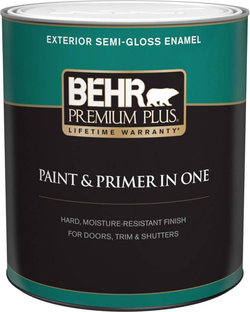 Behr premium plus exterior paint primer in one semi gloss enamel ultra pure white 946 ml - Exterior white gloss paint image ...