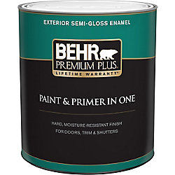 Behr Premium Plus Exterior Paint & Primer in One, Semi-Gloss Enamel - Ultra Pure White, 946 mL
