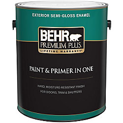 Behr Premium Plus Peinture & apprêt en un - Extérieur émail semi-brillant - Blanc ultra pur, 3,7 L
