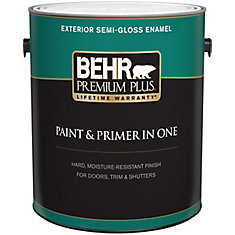 exterior paint primer in one semi gloss enamel ultra pure white. Black Bedroom Furniture Sets. Home Design Ideas