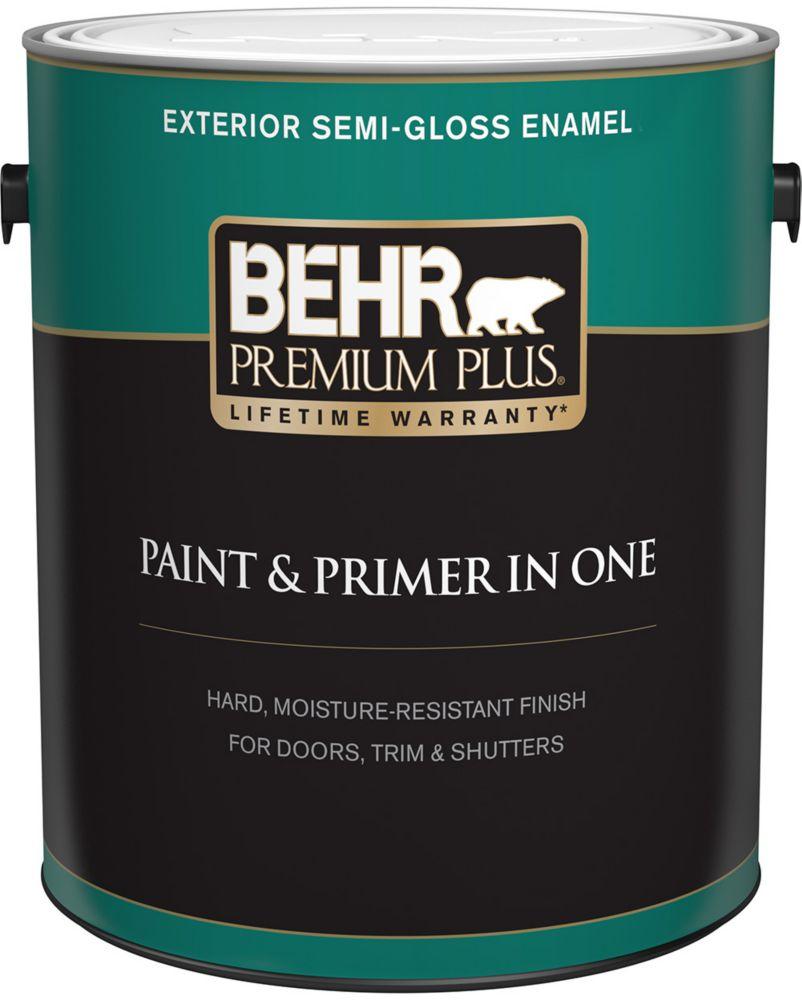 Behr Premium Plus Exterior Paint & Primer in One, Semi-Gloss Enamel - Ultra Pure White, 3.7 L