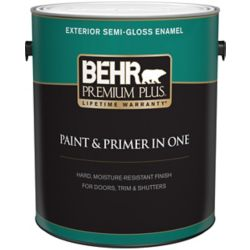Behr Premium Plus Exterior Paint & Primer in One, Semi-Gloss Enamel - Ultra Pure White, 3.7 L