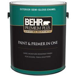 Behr Premium Plus Peinture & apprêt en un - Extérieur émail semi-brillant - Base foncée, 3,7 L