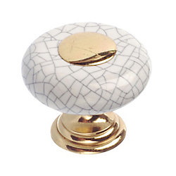 Richelieu Ecletic Ceramic and Metal Knob 1 1/4 in (32 mm) Dia - Cherbourg Collection