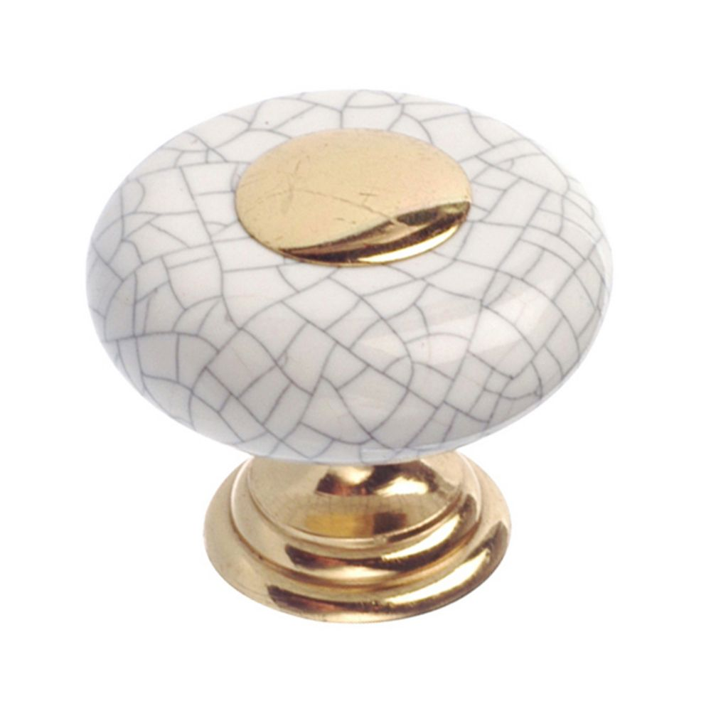 Classic Metal Knob - Brass, Crackle White - 32 mm Dia.