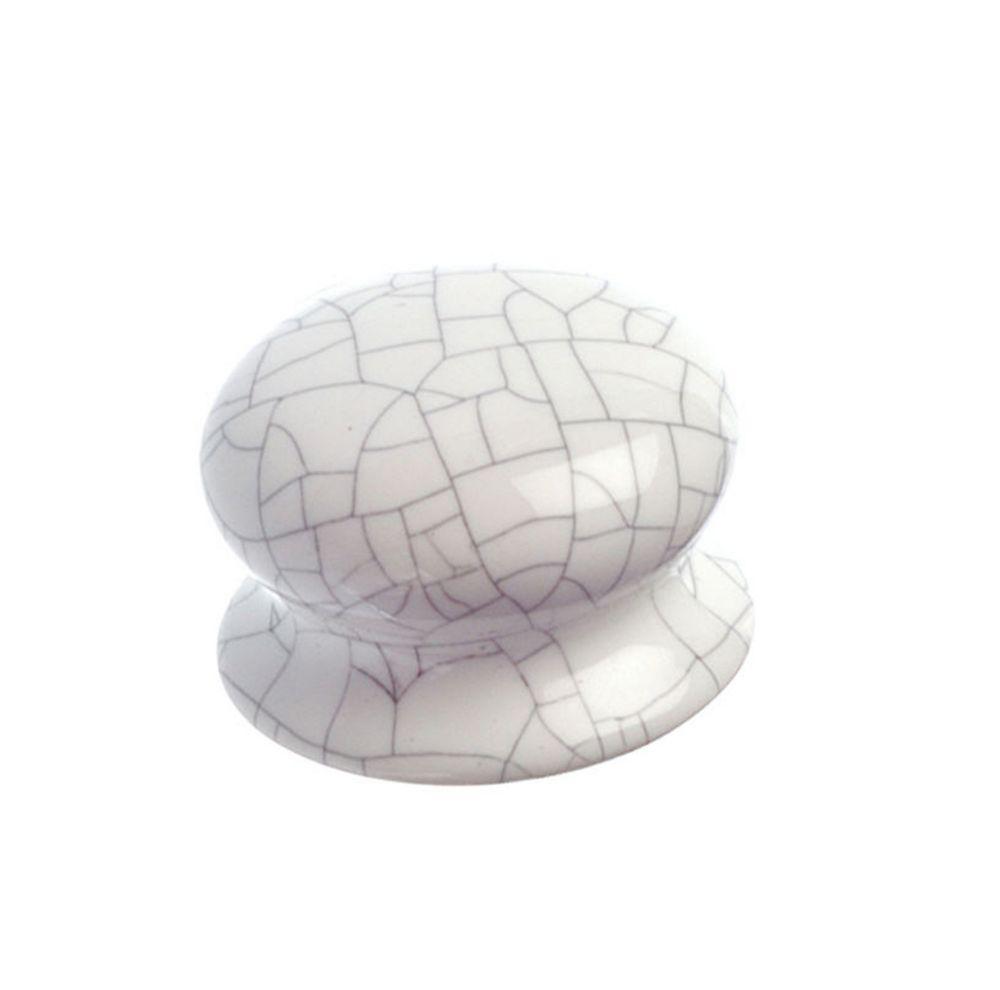 Contemporary Ceramic Knob - Crackle White - 38 mm Dia.