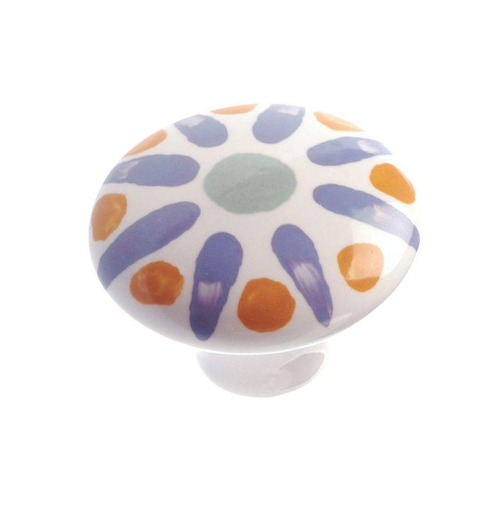 Eclectic Ceramic Knob - Blue Flower - 37 mm Dia.