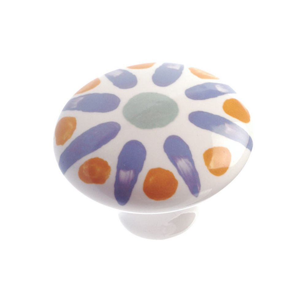 Richelieu Eclectic Ceramic Knob 1 15/32 in (37 mm) Dia - Blue Flower - Bourges Collection