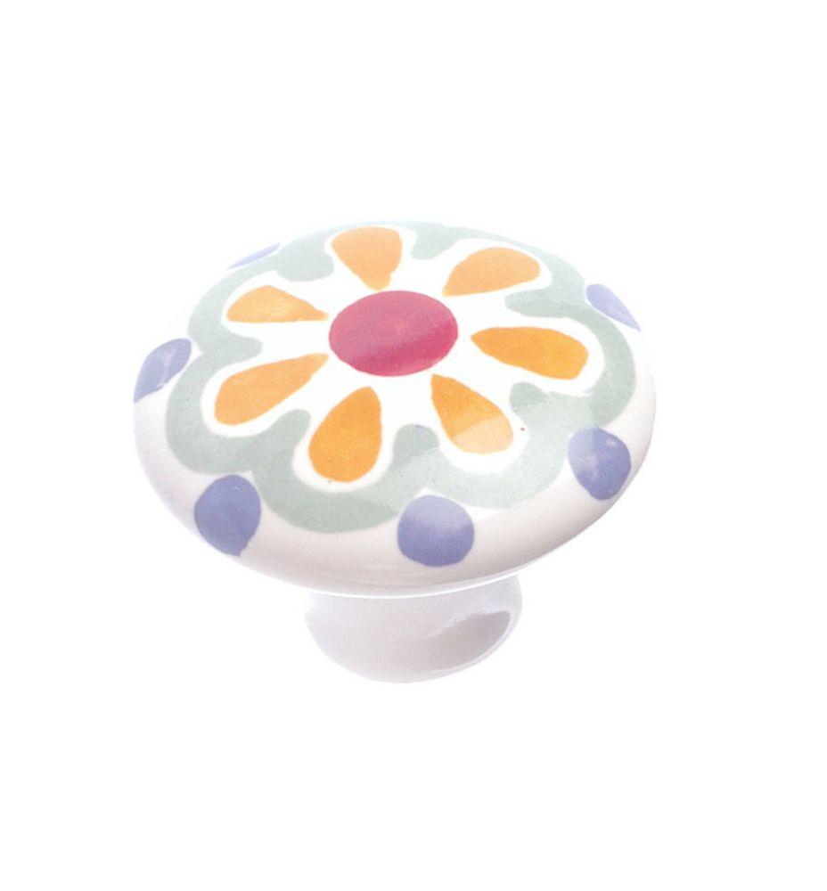 Eclectic Ceramic Knob - Orange Flower - 37 mm Dia.