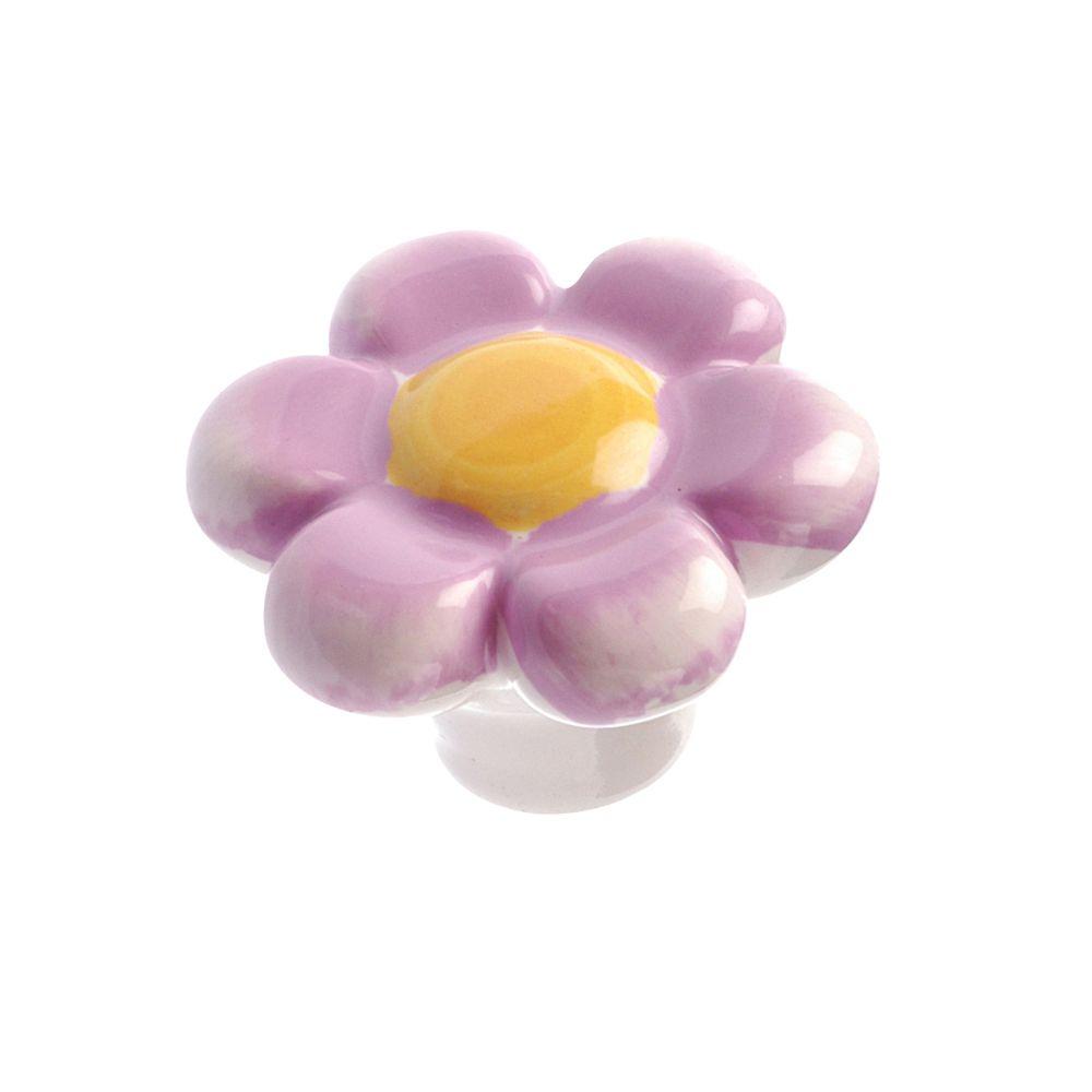 Bouton classique en céramique - Mauve pastel - Dia. 40 mm