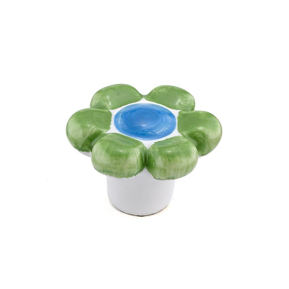 Eclectic Ceramic Knob - Pastel Green - 40 mm Dia.