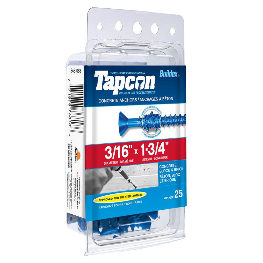 Tapcon Ancrages A Beton 3/16X1-3/4