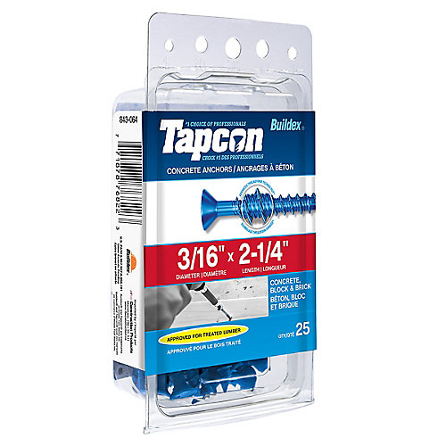 Papc 3/16x2 1/4p Tapcon Concrete Scr