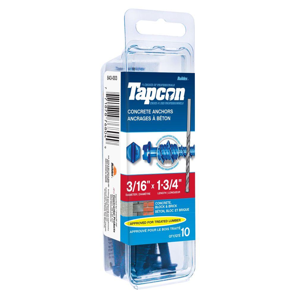 Tapcon Ancrages A Beton 3/16X1-1/4