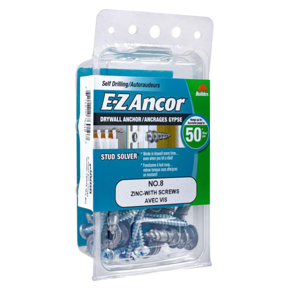 Papc 8 W/Sc E-Z Drywall Anchors Znc