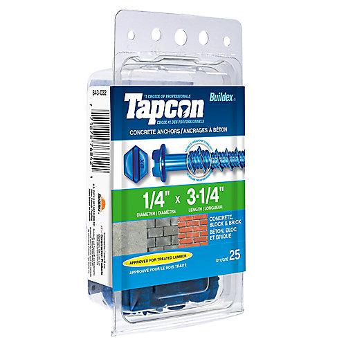 Papc 1/4x3 1/4h Tapcon Concrete Screw (Pack of 25)