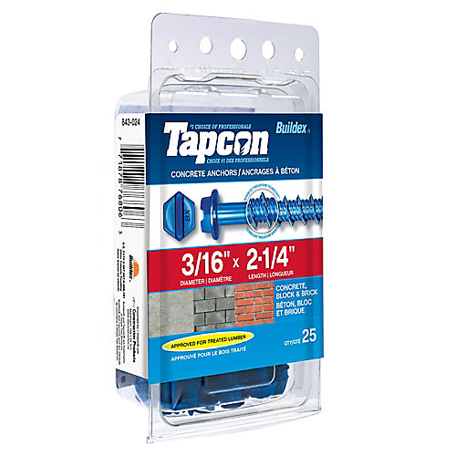 Papc 3/16x2 1/4h Tapcon Concrete Scr