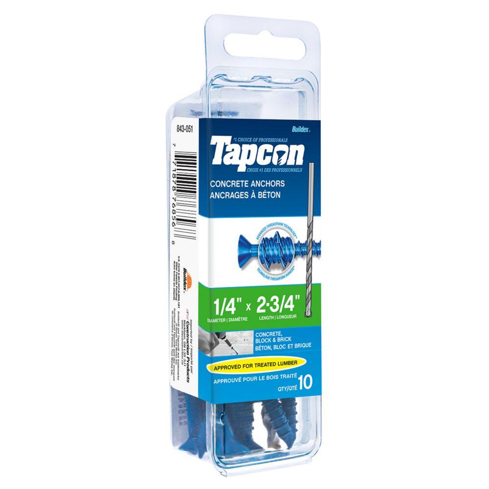 Papc 1/4x2 3/4p Tapcon Concret Scr