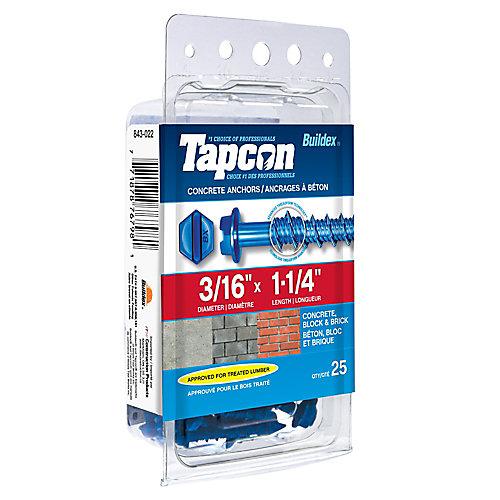 Papc 3/16x1 1/4h Tapcon Concret Scr
