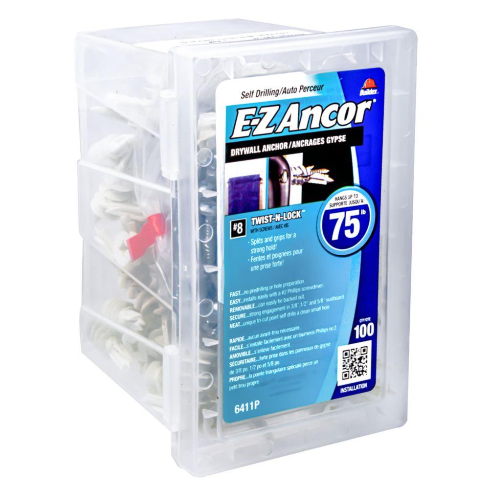 Chevilles de plastique #8 E-Z  Ancors<sup>®</sup> avec vis
