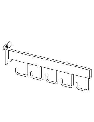 Slotwall Accessory #2809 Chrome 16 Inch Cascading Bar With 5 Hooks