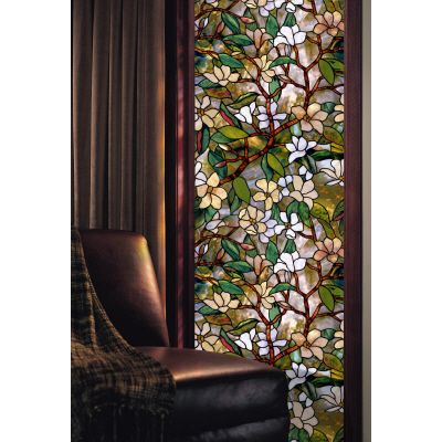 Artscape magnolia decorative window film 24 in x 36 in for Papier collant pour fenetre