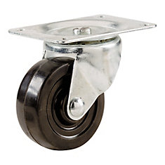 1-1/2 inch Soft Rubber Swivel Plate Caster with 40 lb. Load Rating