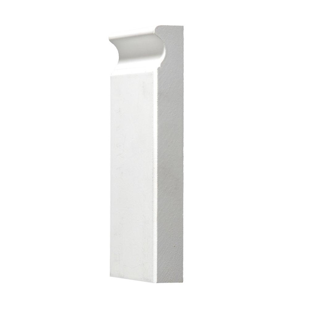 Primed Plinth Block 1 In. x 3-3/4 In. x 8 Ft.