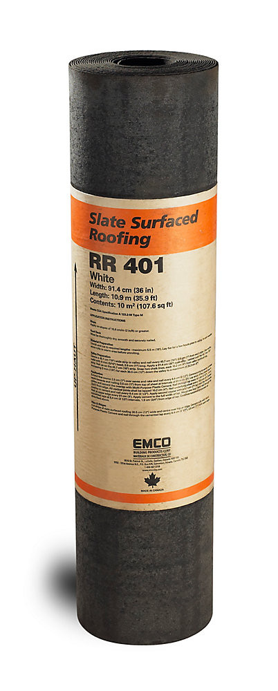 Slate Surface Roll Roofing White