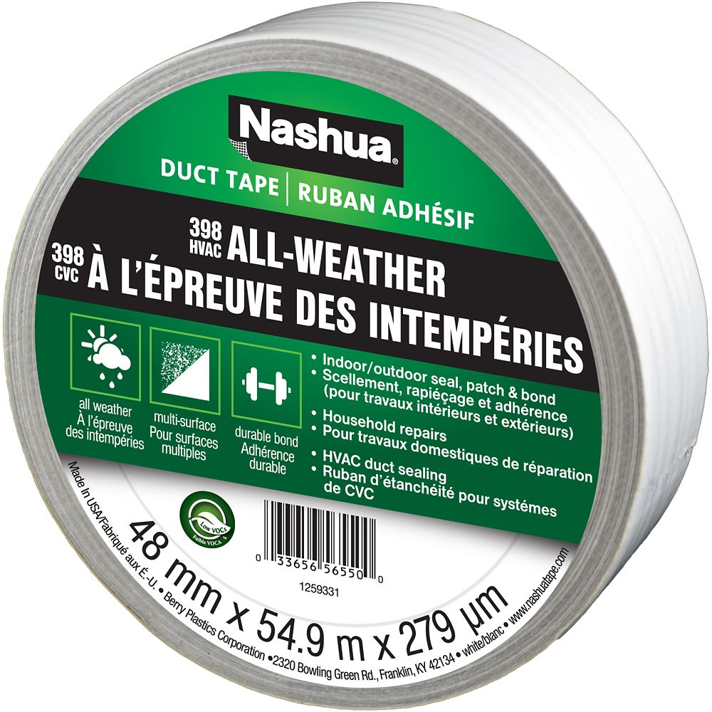 Nashua 398 Max Duty All-Weather Duct Tape, White, 1.89in x 60yd