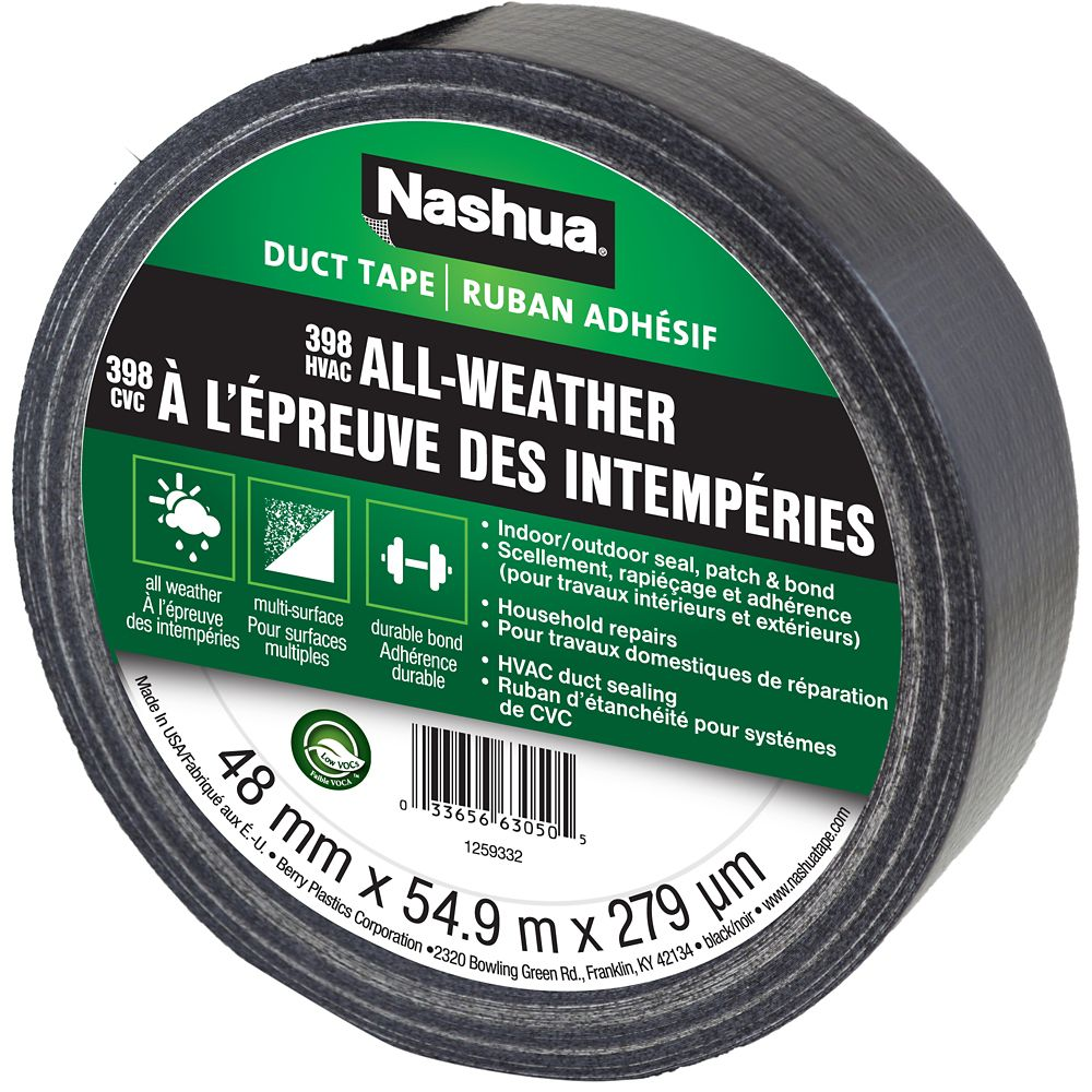 Nashua 398 Max Duty All-Weather Duct Tape, Black, 1.89in x 60yd