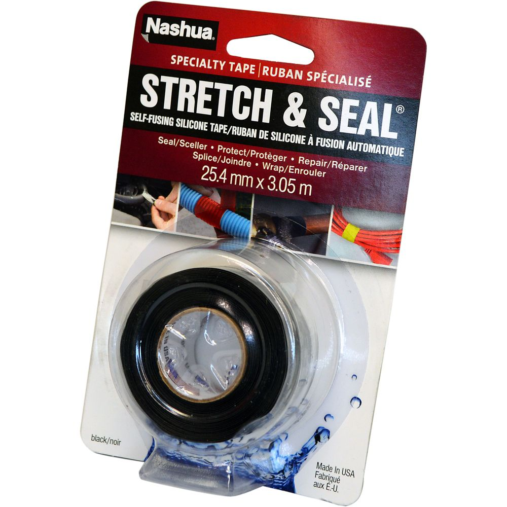 Nashua Stretch & Seal Silicone Sealing Tape, Black, 1in x 10ft