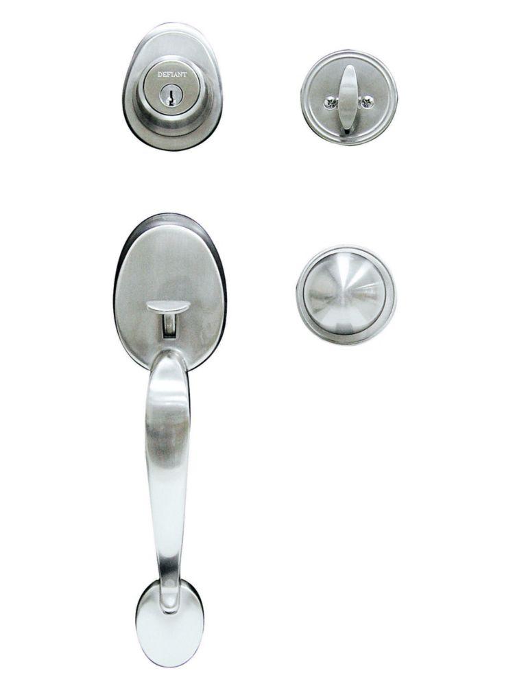 Defiant Saturn Satin Nickel Single Cylinder Knob Door Handleset with Saturn Interior Knob