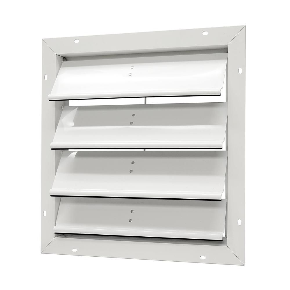 20 inch x 20 inch White Gable Louver - Aluminum Automatic