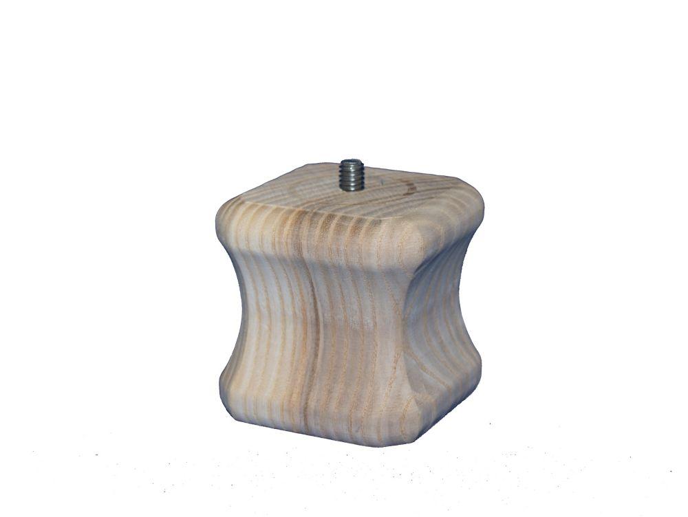 Pied massif effilé, bois franc, Anglo-saxon 2 5/8 x 2 5/8, bois franc 2 5/8 x 2 5/8