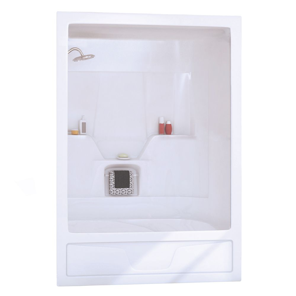 Astm 3-Piece White Acrylic Tub Shower Left Drain