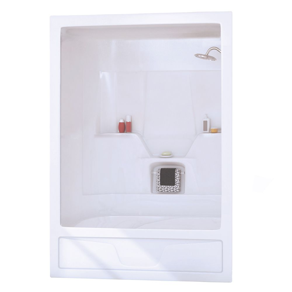 Astm 3-Piece White Acrylic Tub Shower Right Drain