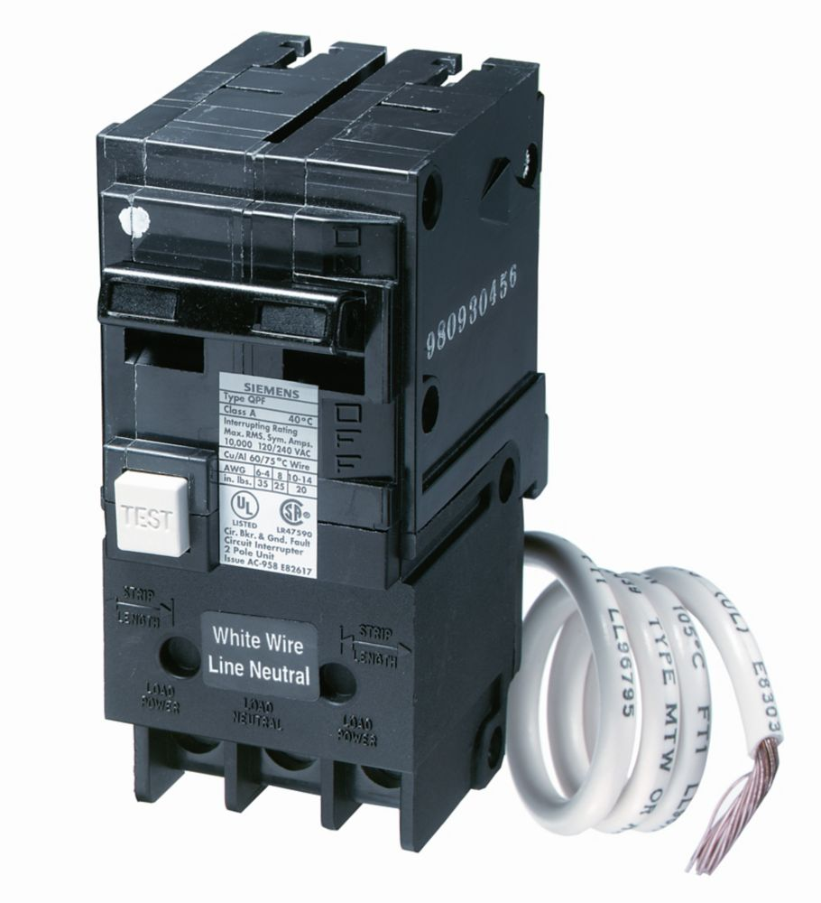 Siemens 15a 2 Pole 120 240v Type Q Gfci Breaker The Home Depot Canada How To Install Ground Fault Circuit Interrupter