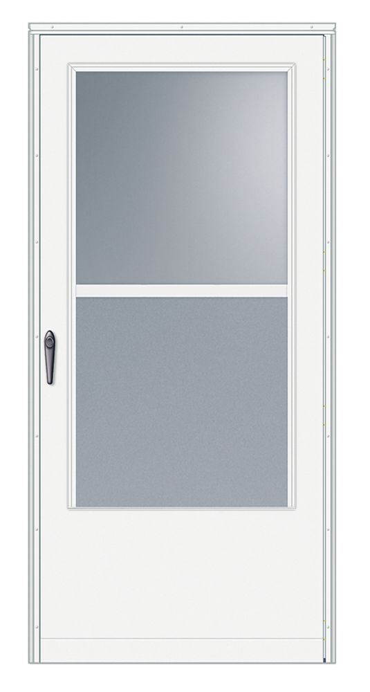 32-inch W 100 Series Venting White Screen Door with Black Hardware