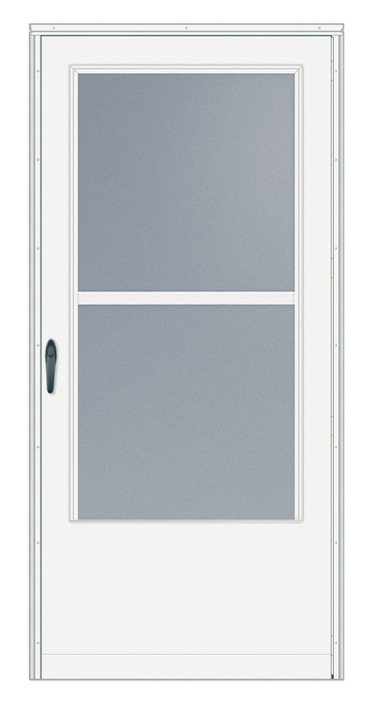 EMCO 2-inch W 200 Series Triple Track White Screen Door with Black Hardware