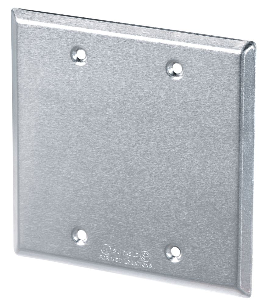 2 Gang Blank Cover, Silver