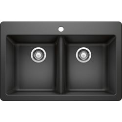 GLACIER BAY 50/50 Dual Mount Black Sink