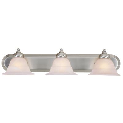 Hampton Bay 3-Light Brushed Nickel Vanity Light with Alabaster Glass Shades