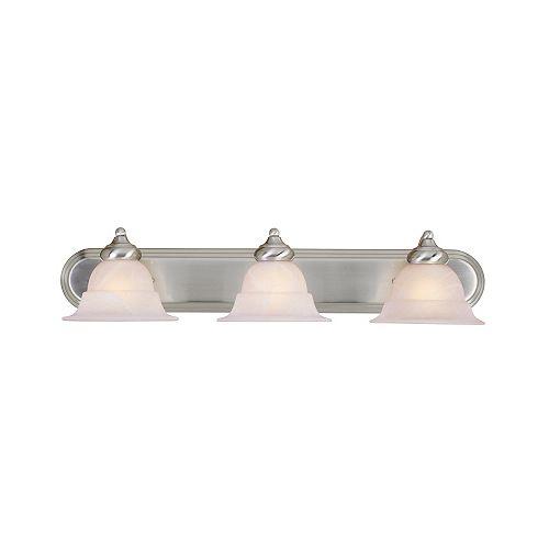 Hampton Bay 3-Light Brushed Nickel Vanity Light with Alabaster Glass Shades